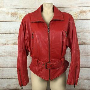 Avanti Vintage Red Leather Belted Moto Jacket 80's